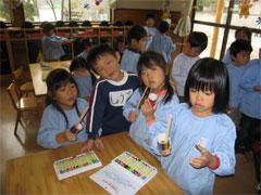 幼稚園祭製作うぐいす組